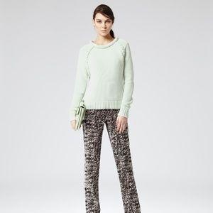 Reiss Kersen Braid Knit Chunky Sweater XS Green